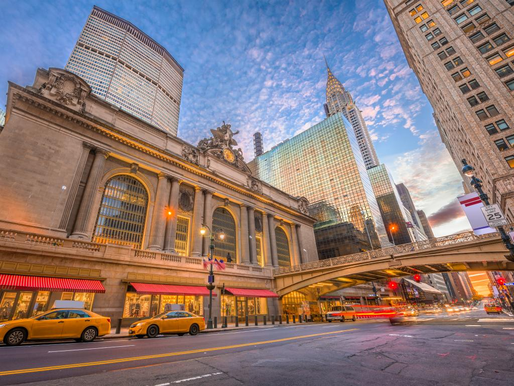 Grand Central Terminal and the busy street of Manhattan New  York early morning.