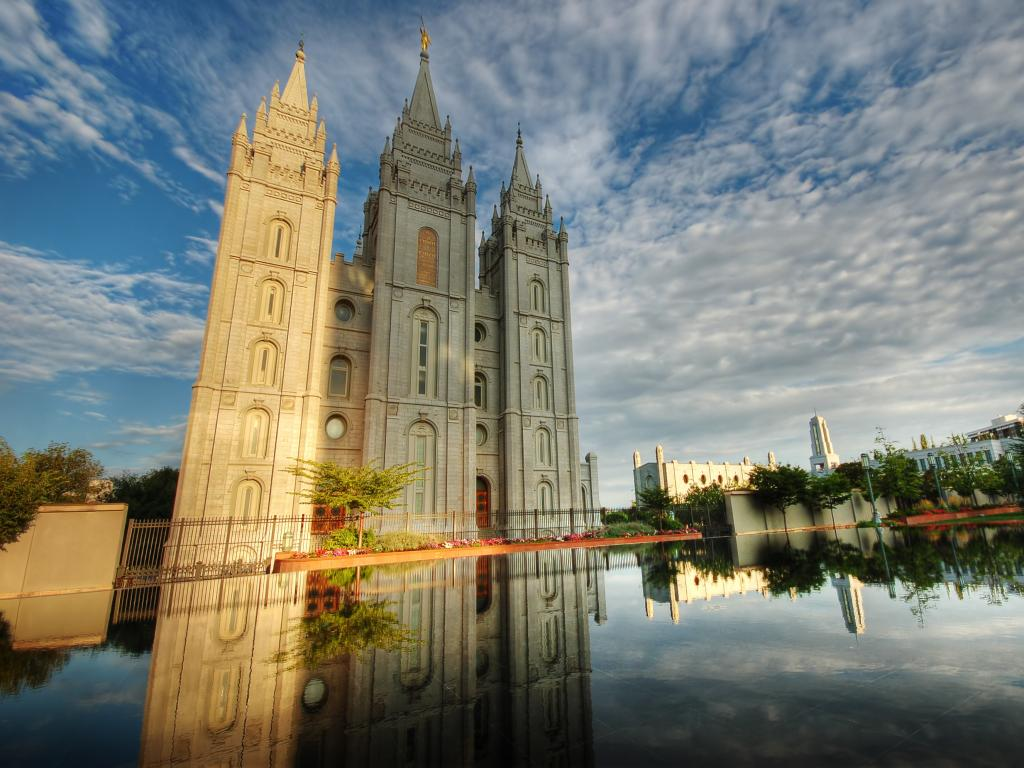 Salt Lake Temple on Temple Square and the Reflecting Pool in Salt Lake City, Utah.