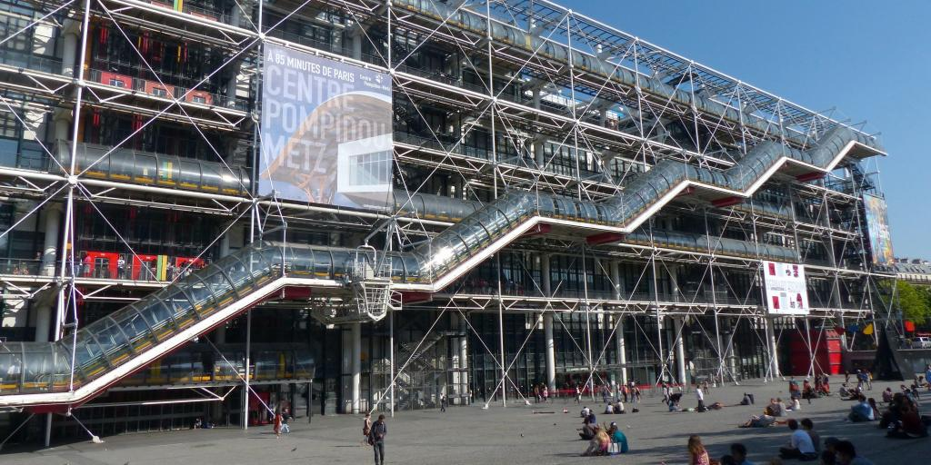 The pipes and tubes of the distinctive Georges Pompidou Centre in Paris