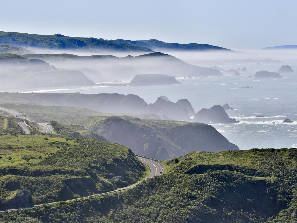 Bodega Bay along the Pacific Coast Highway in Sonoma County on a foggy morning.