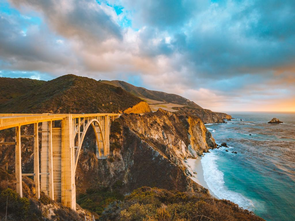 Bixby Creek Bridge along Highway 1 - part of the Pacific Coast Highway through California's Big Sur.