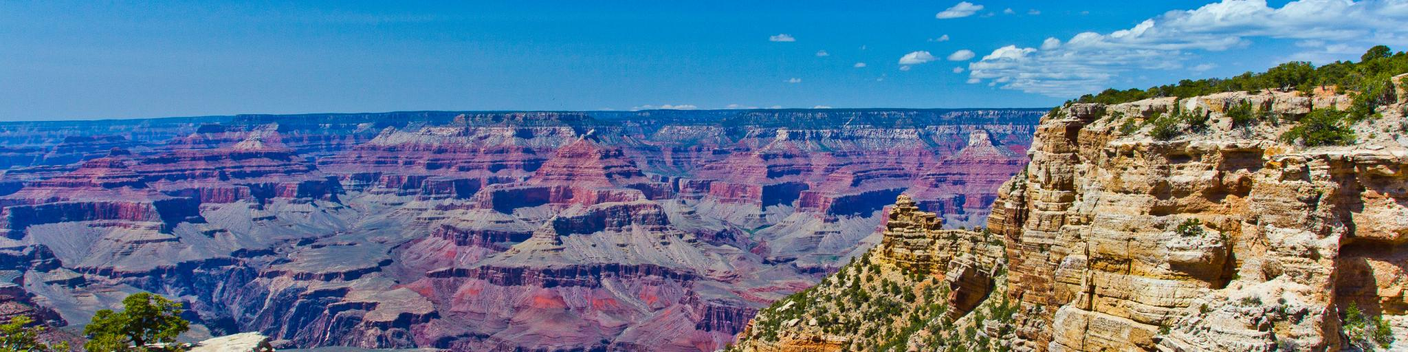 A great view of Grand Canyon National Park in a clear blue sky.