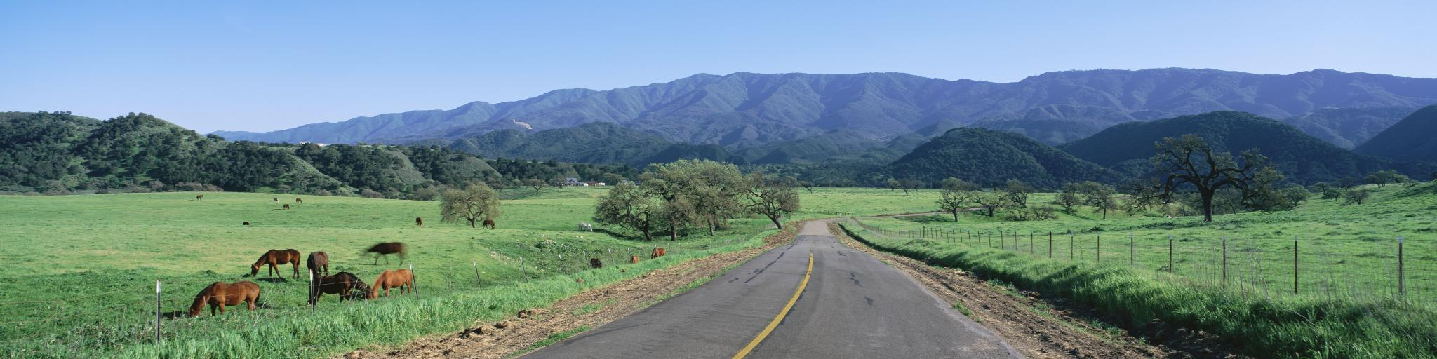 Scenic country road through California near Santa Barbara.