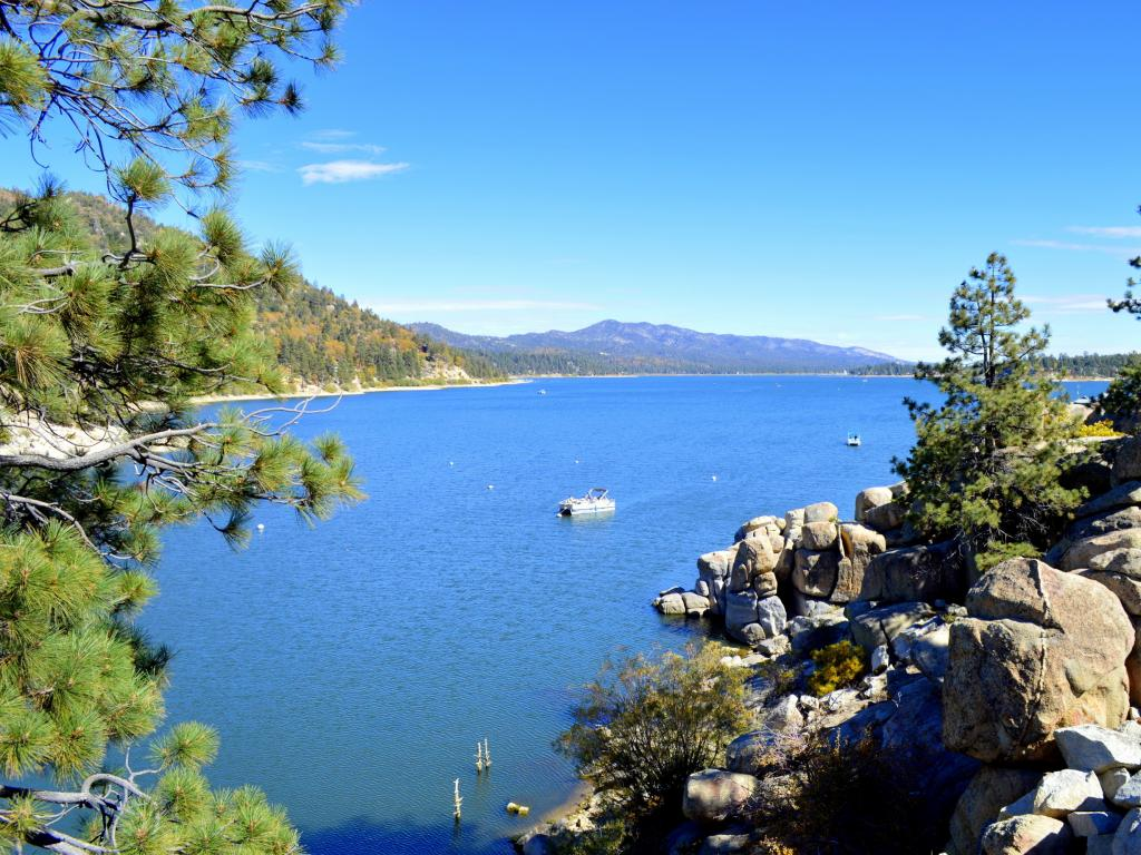 View of the Big Bear Lake in California from the dam