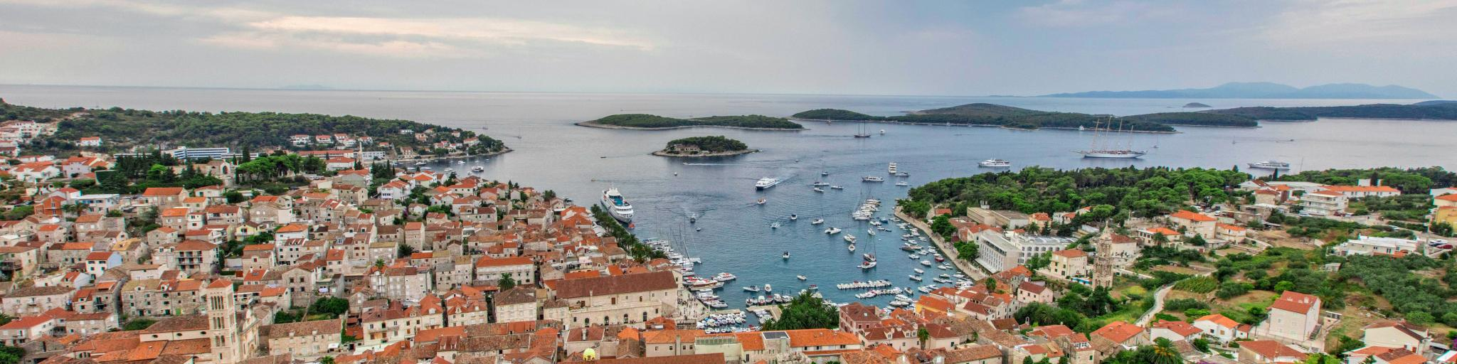 A bird's eye view of Hvar and the Adriatic Sea