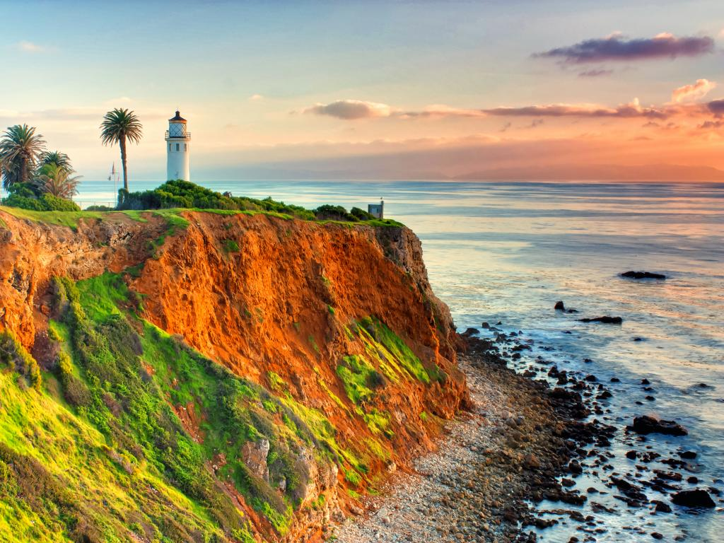 Historic Point Vicente Lighthouse at Sunset on Point Vicente, across the water from Santa Catalina Island