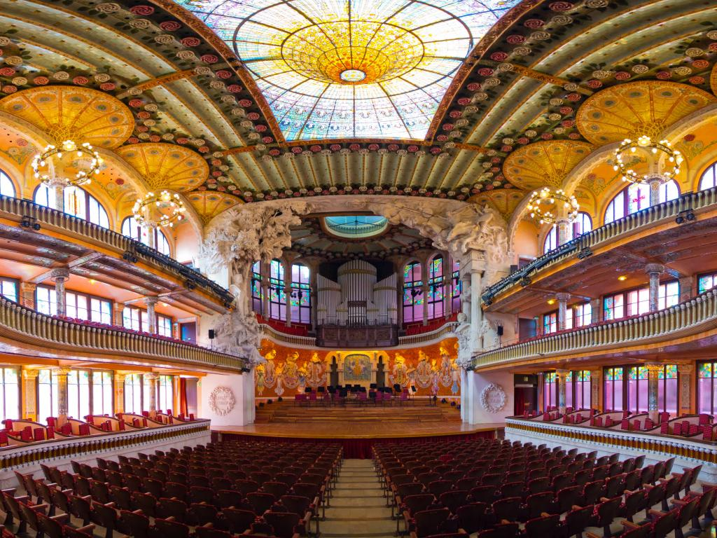 Inside the Palau de la Música Orfeo Catala in Barcelona