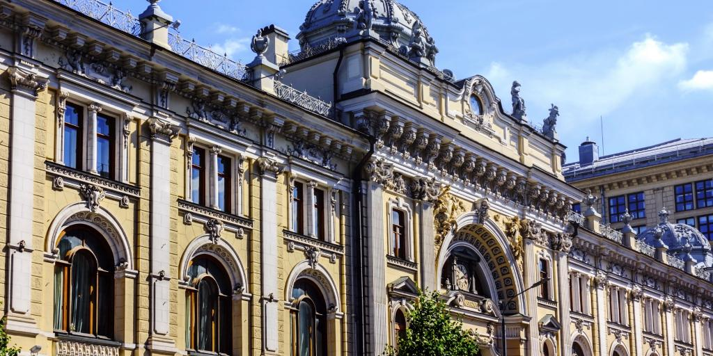 The detailed facade of the main building of Sandunovsky baths in Moscow