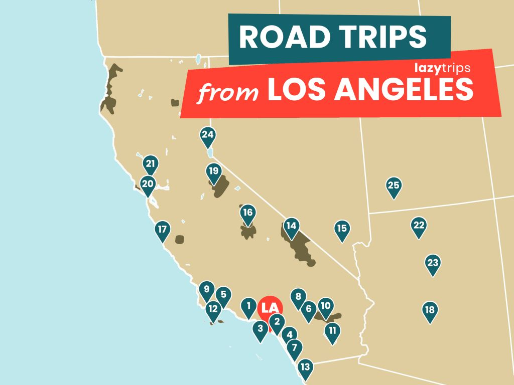 Map of road trips from Los Angeles - 25 different itineraries with detailed routes.