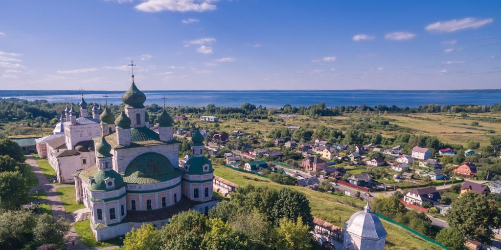 An aerial view of Goritsky monastery, Pereslavl-Zalessky, Russia, with the town seen in the background