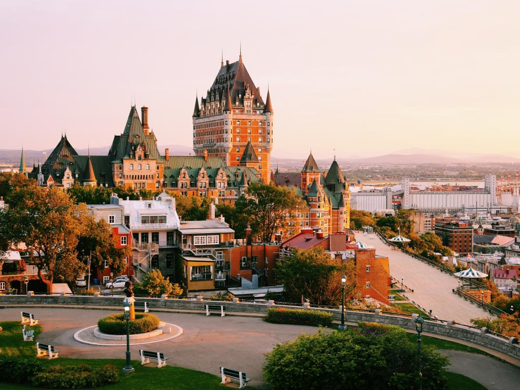 Frontenac Castle in Old Quebec City at sunrise - at the end of a road trip from Toronto