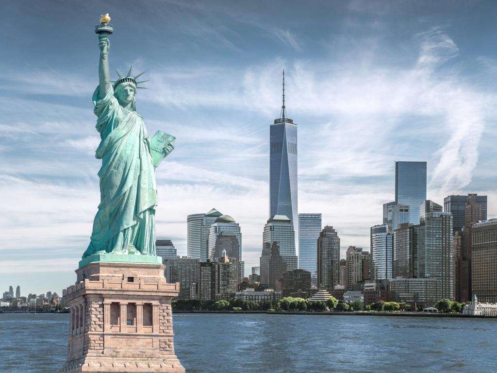 View of the Statue of Liberty and the city of New York