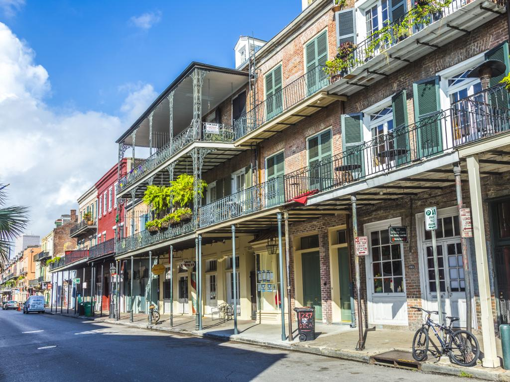 Historic building along a street in the French Quarter in New Orleans, Louisiana.