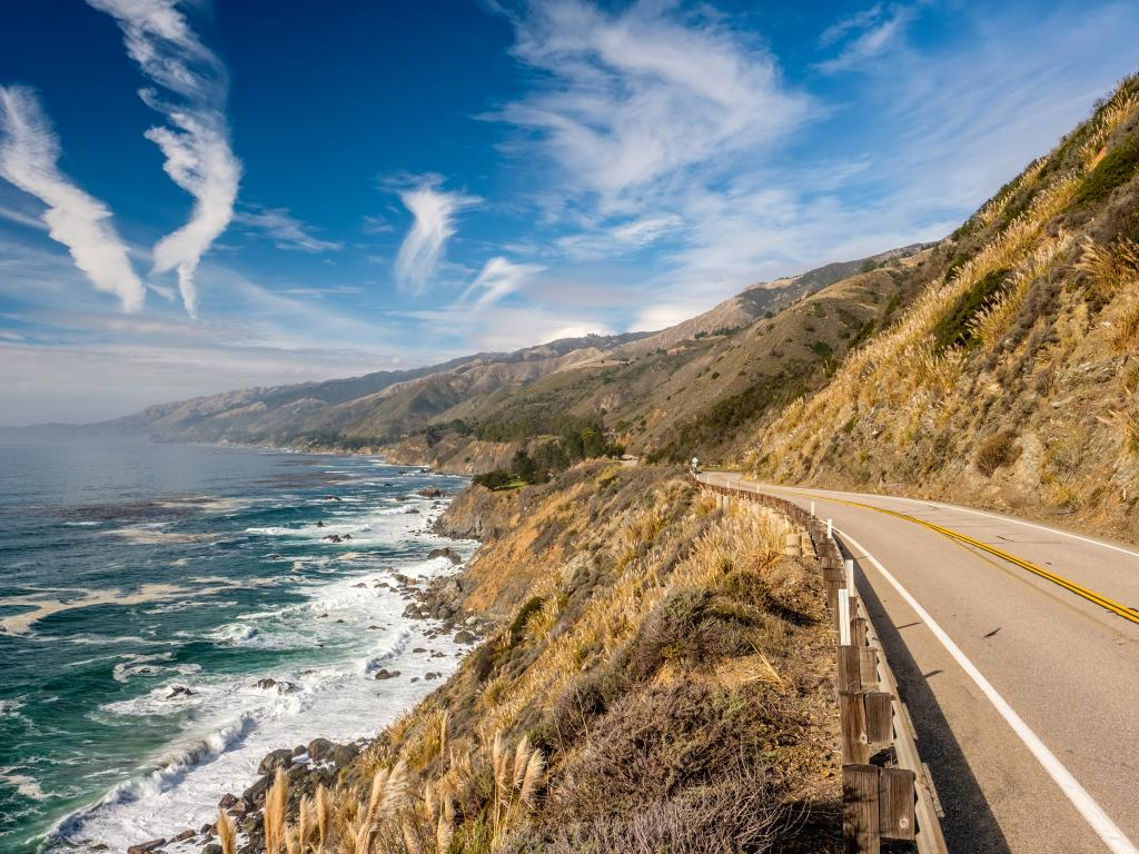 An empty highway 1 on good weather with a beautiful view of the ocean on the Pacific Coast, California