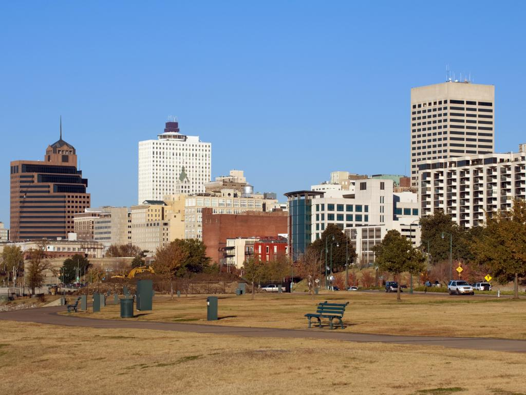 View of Memphis skyline from Tom Lee park, Memphis, Tennessee