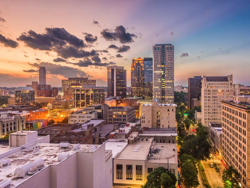 Birmingham, Alabama, USA downtown cityscape at dusk