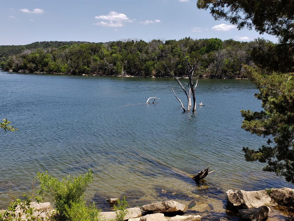 The tree-lined shoreline of Possum Kingdom Lake in Texas.