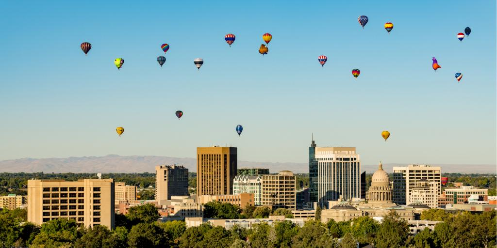 Hot air balloons float over the city during the Boise Balloon Classic in Idaho