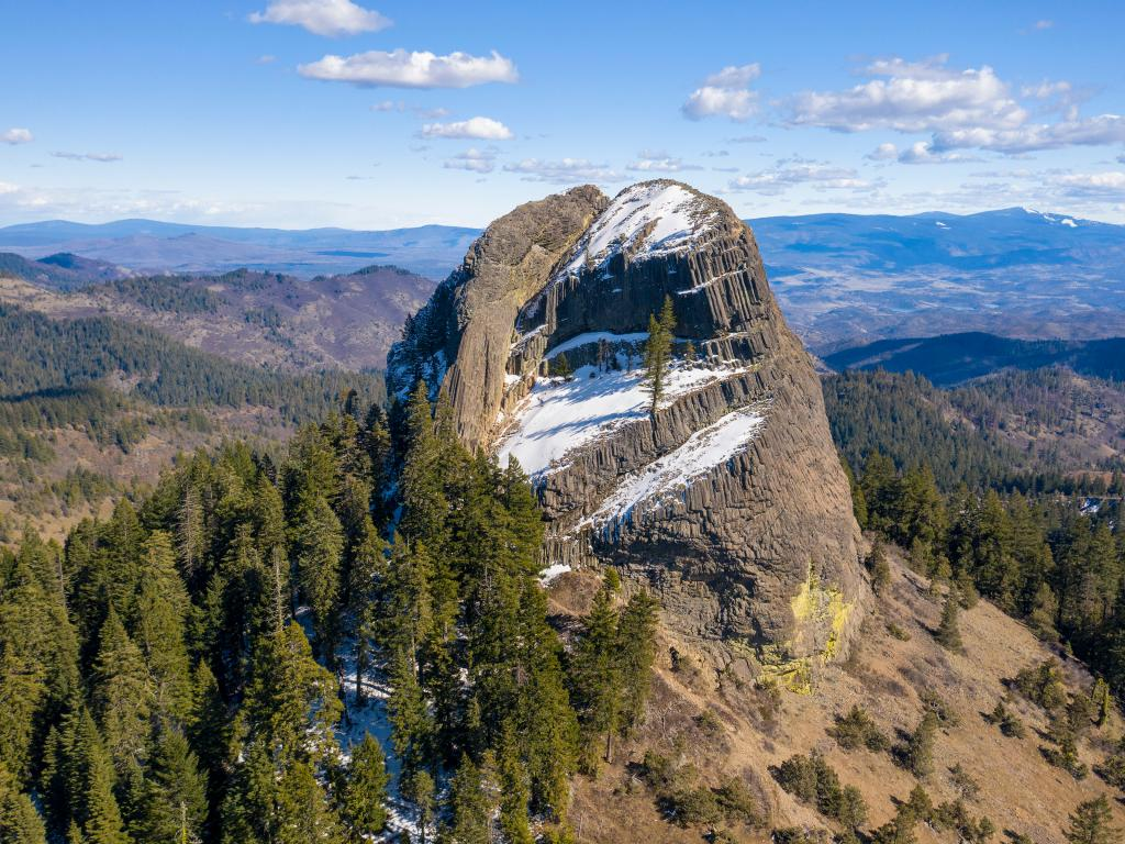 Pilot Rock and surrounding forests in the Cascade-Siskiyou National Monument in southern Oregon.