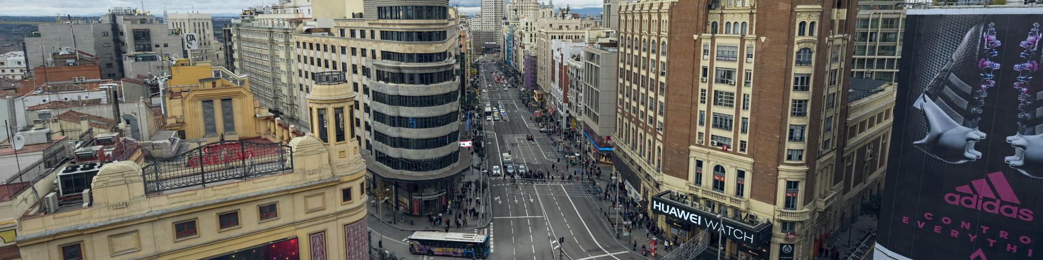 The bustling Gran Via is the main thoroughfare in Madrid