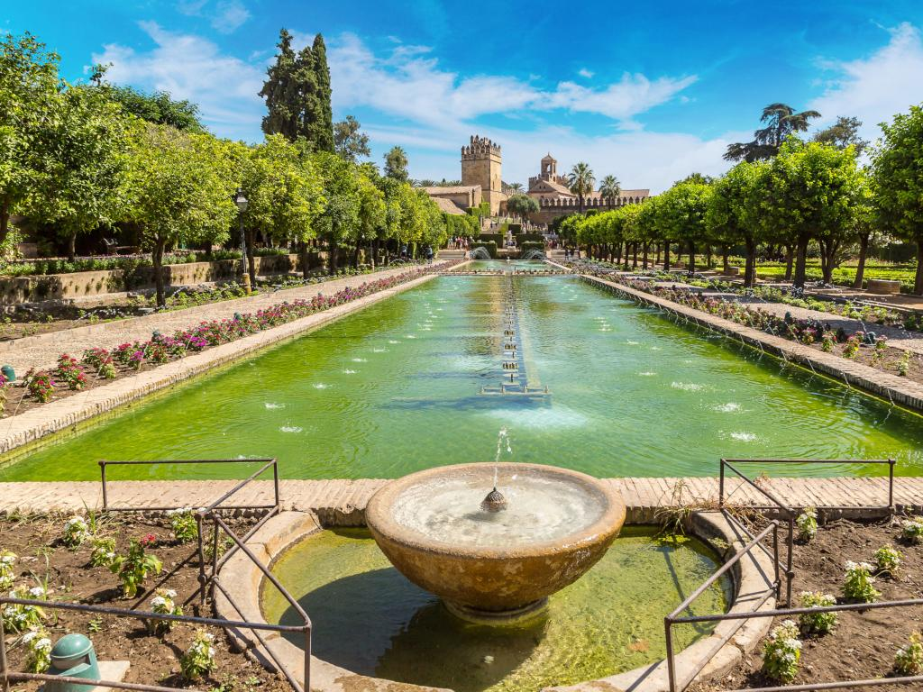 Fountain and gardens of the Alcazar de los Reyes Cristianos in Cordoba, Spain