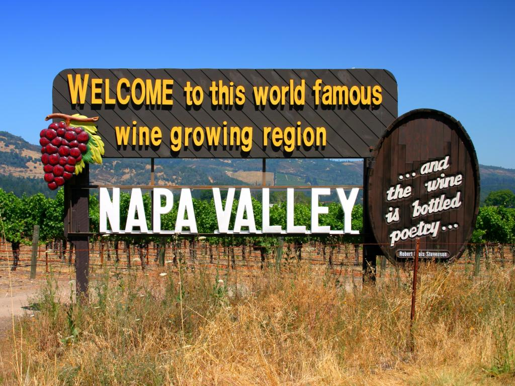 Welcome to the Napa Valley wine growing region sign in Northern California