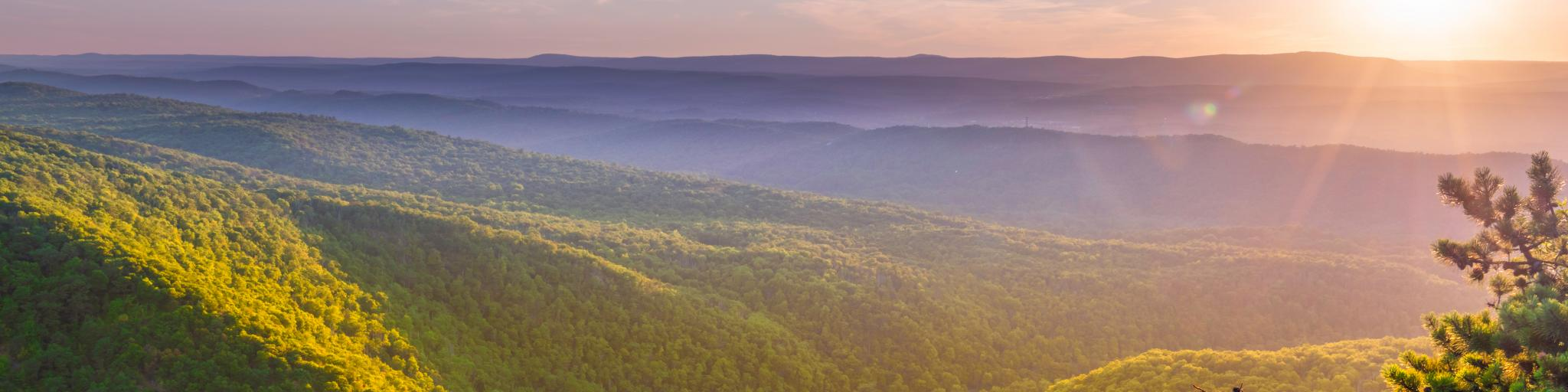 Delaware Water Gap Recreation Area viewed at sunset from Mount Tammany