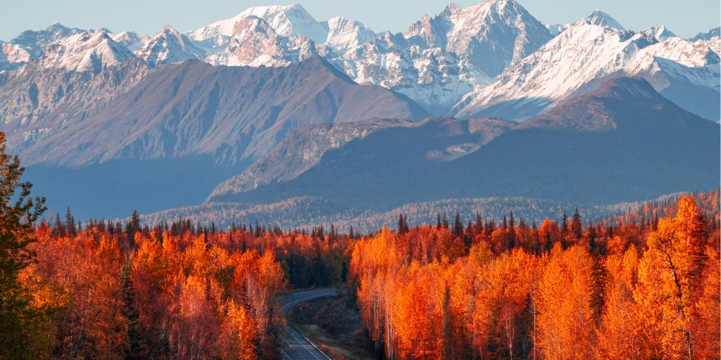 View of Denali, Mt Foraker and the Alaska range from the Parks Highway
