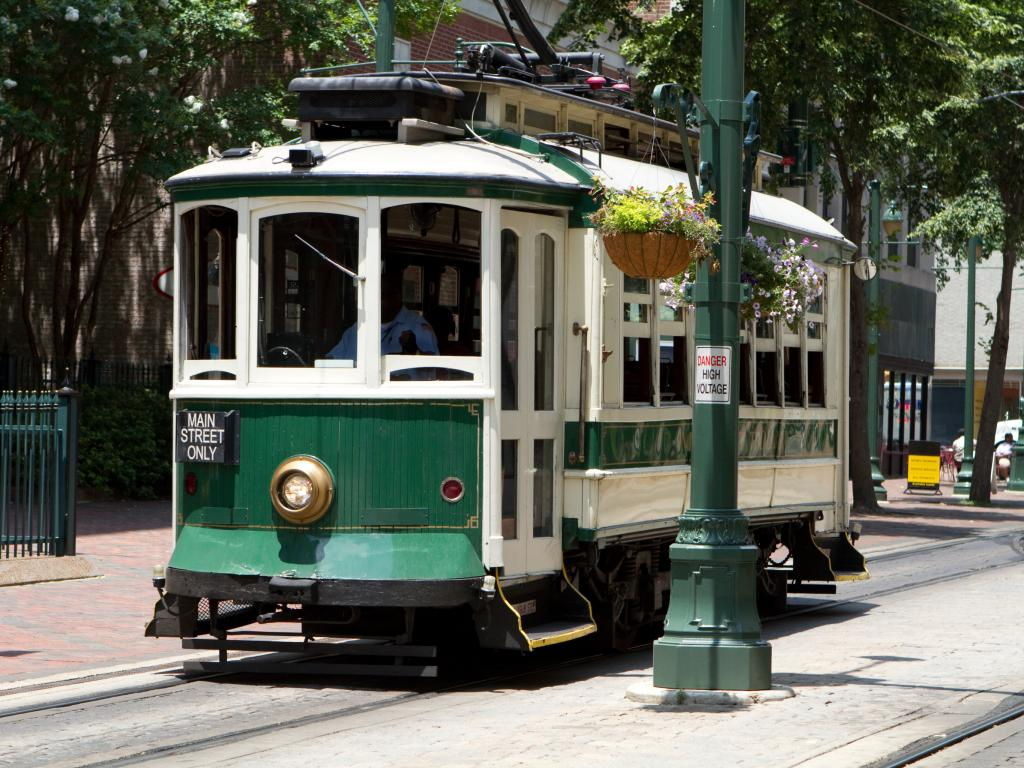 An electric trolley going down Main Street in Memphis, Tennessee