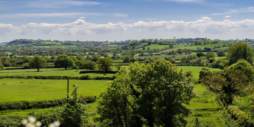 Rolling hills and green fields in the Mendip Hills, Somerset