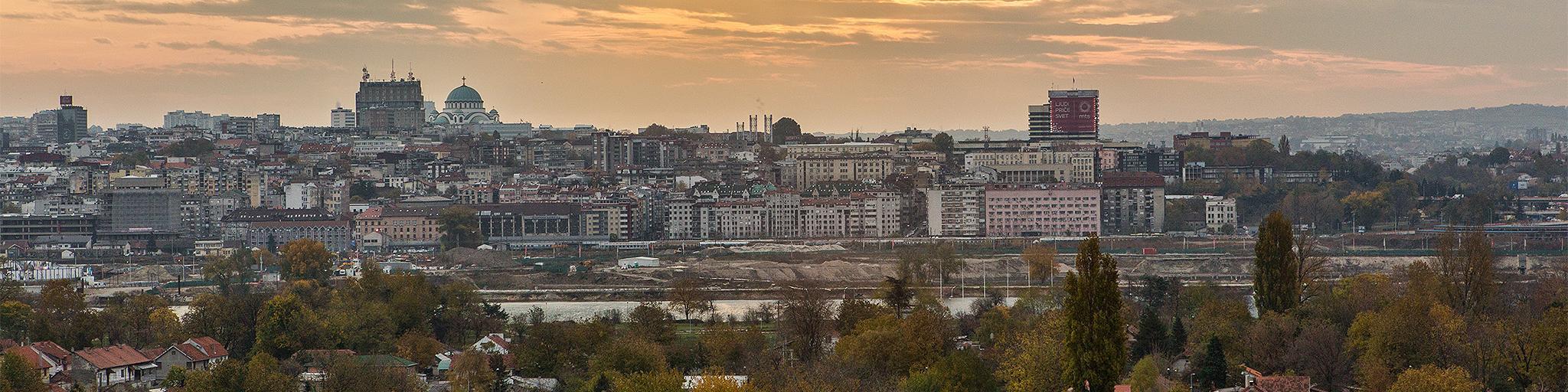 The Belgrade skyline at dawn