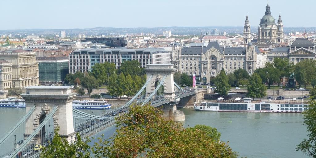 Aerial view of Szechenyi Chain Bridge, Budapest
