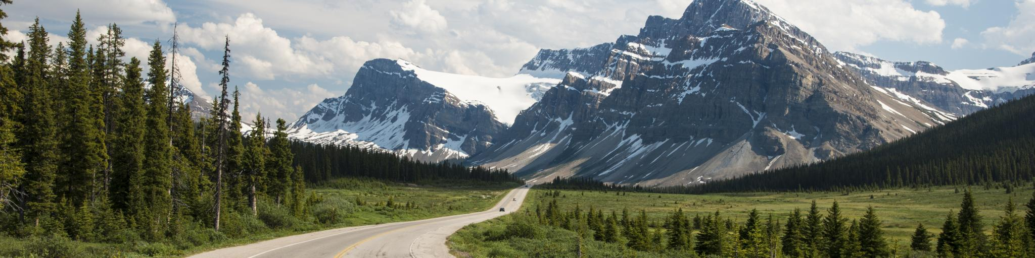 Scenic highway passing through the Banff National Park in Alberta, Canada.