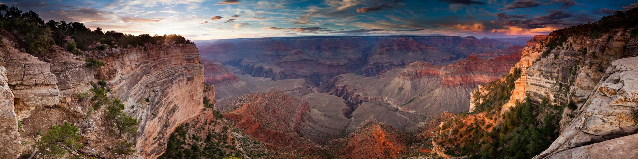 View  down into the Grand Canyon at sunset.