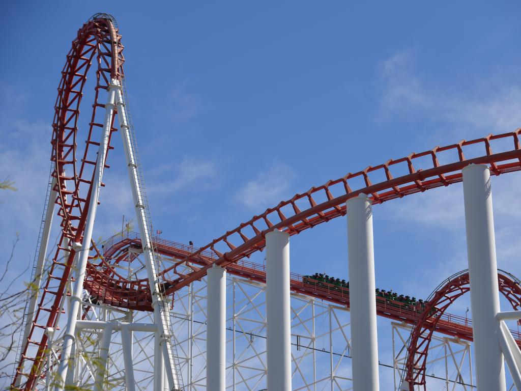 Thrilling roller coasters in Six Flags Magic Mountain in California