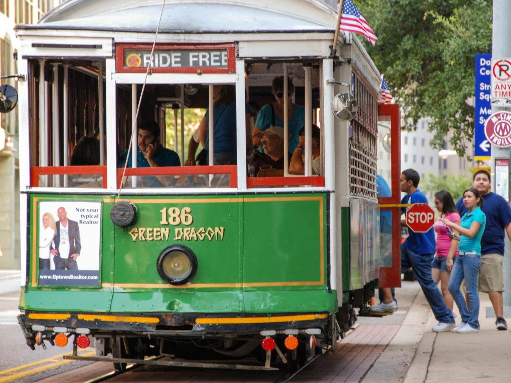 People boarding the McKinney Avenue trolley in Dallas, Texas