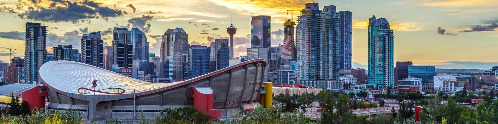 Sunset view of downtown Calgary.