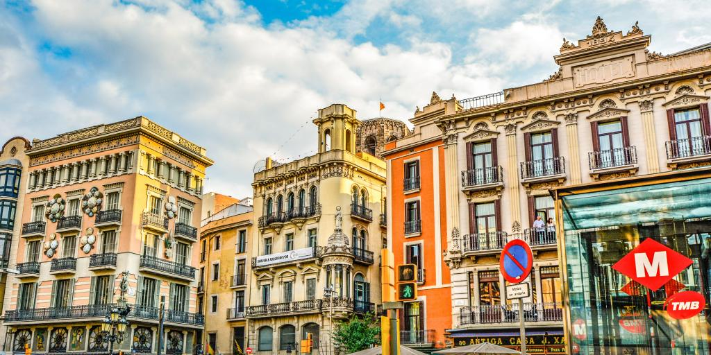 The colourful buildings and unique architecture of Barcelona, Spain