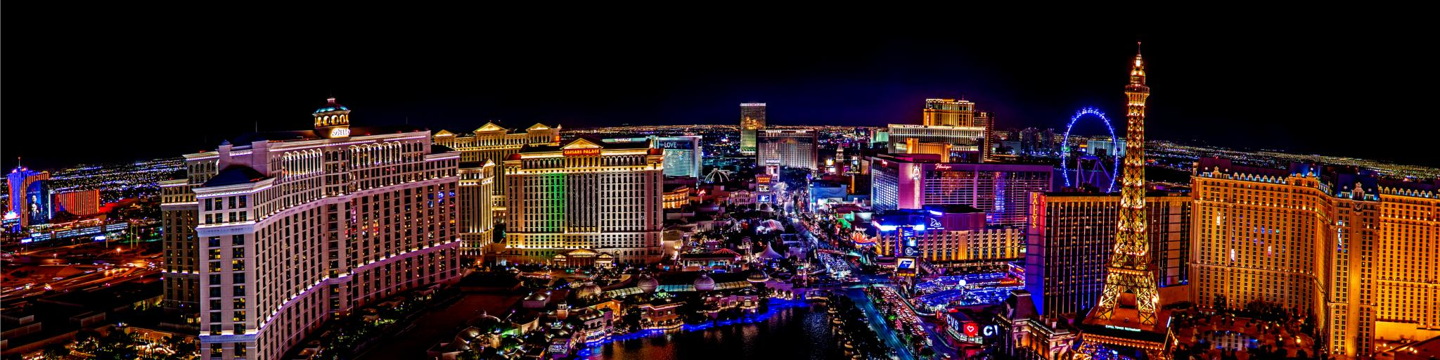 A bird's eye view of the Las Vegas Strip at night with the magnificent sight of city lights in Las Vegas, Nevada
