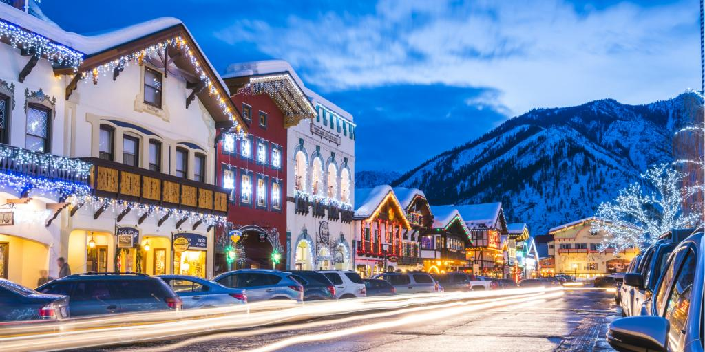 Christmas lights decorate the Bavarian village of Leavenworth in Washington State