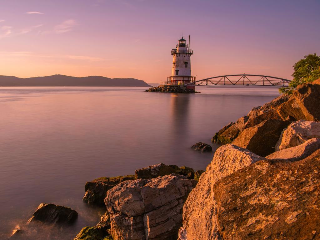 Sleepy Hollow lighthouse, in New York State's Hudson Valley, viewed at sunset
