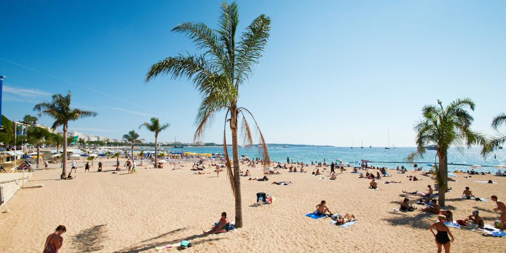 Barceloneta beach with palm trees in Barcelona