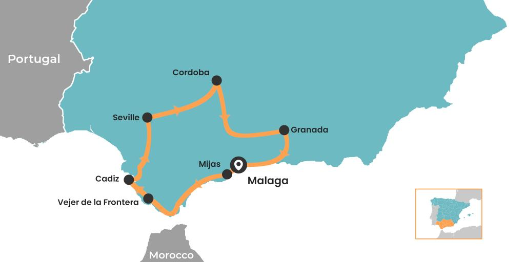Andalucia road trip starting and ending in Malaga - map