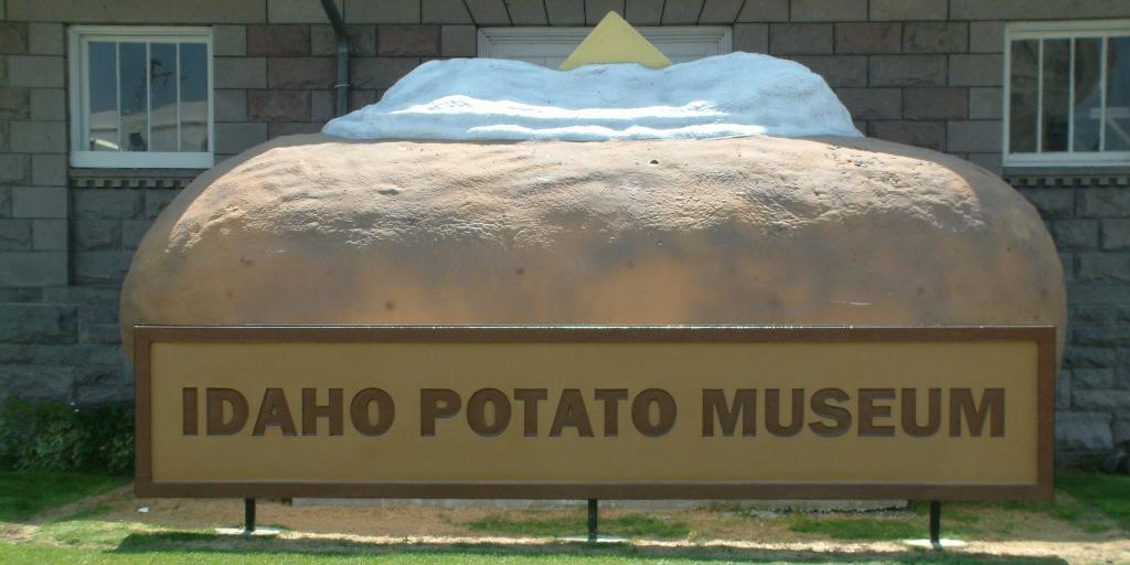 Sculpture of a baked potato in front of the Idaho Potato Museum in Blackfoot, Idaho