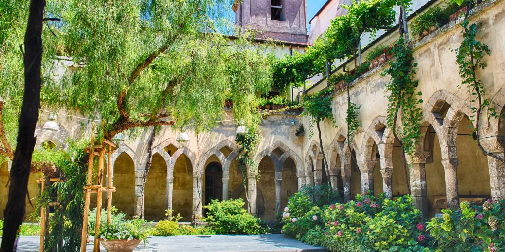 The scenic cloister of San Francesco d'Assisi Church in Sorrento, Italy, on the Amalfi coast
