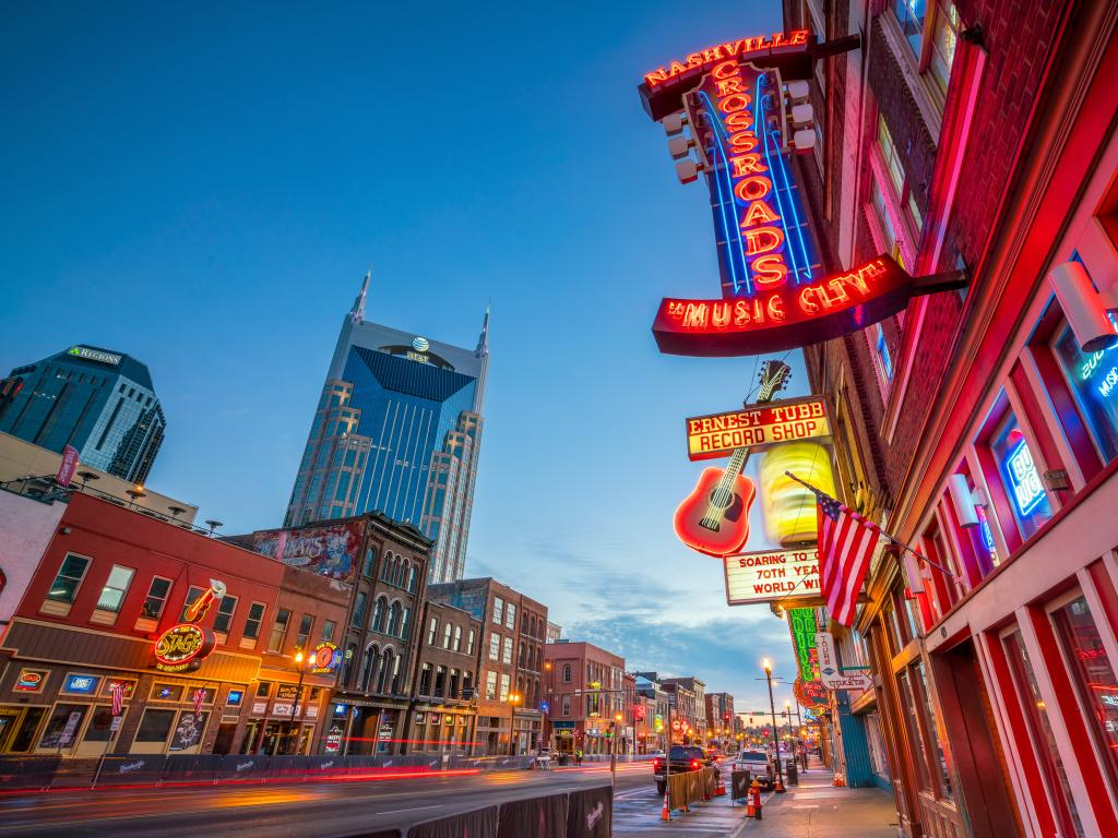 Neon signs outside music venues on Broadway in Nashville, Tennessee
