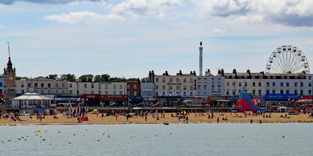 A view of the beach and Old Town in Margate, Kent