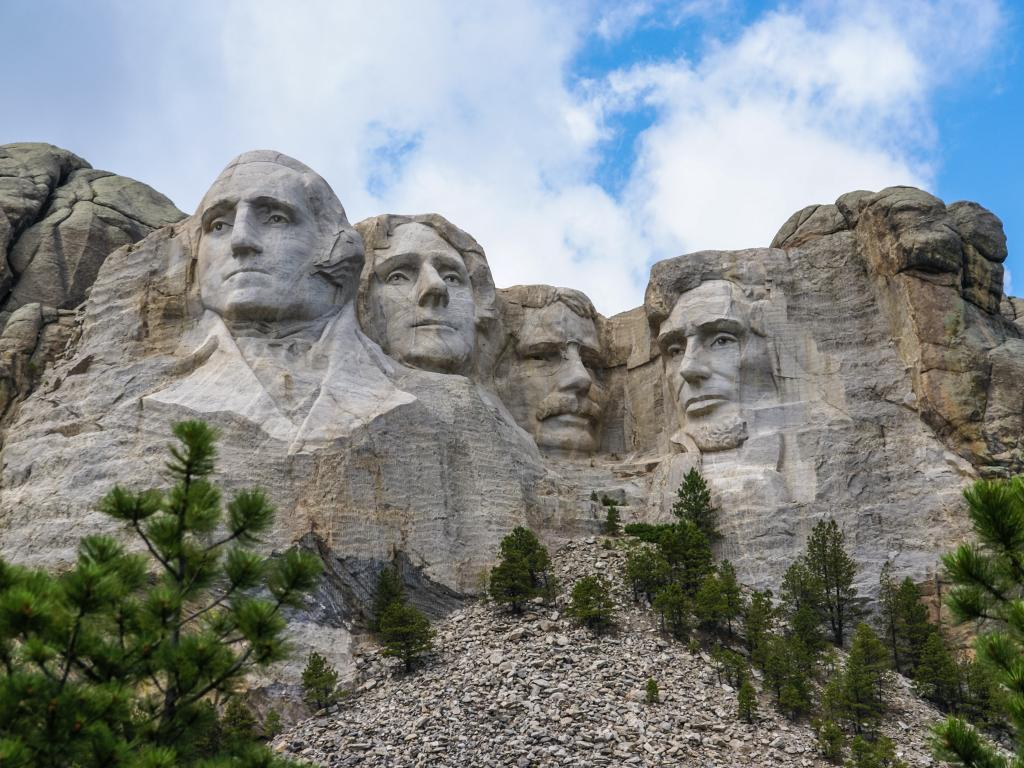 The famous Mount Rushmore National Monument in the Black Hills in South Dakota