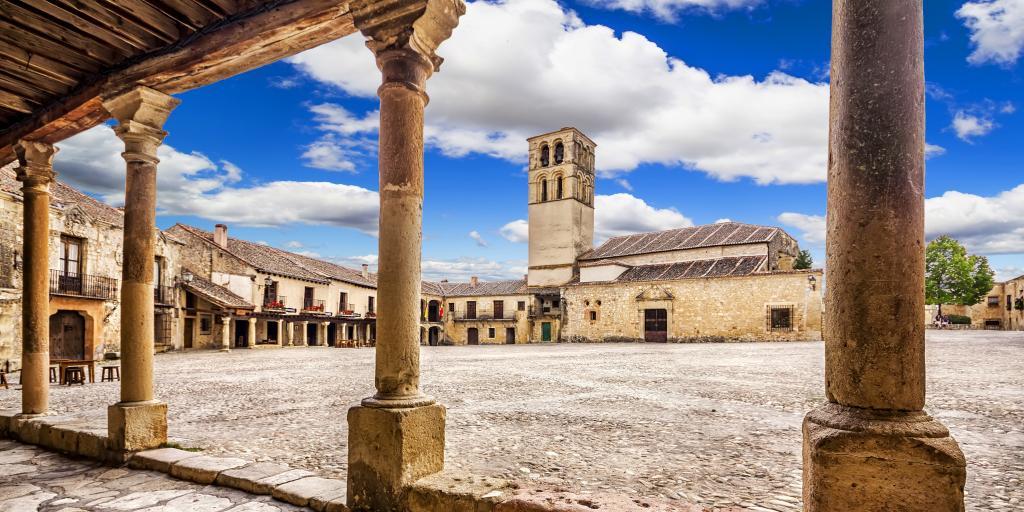 Plaza Mayor of Pedraza village in Segovia on the Castilla y Leon road trip in Spain