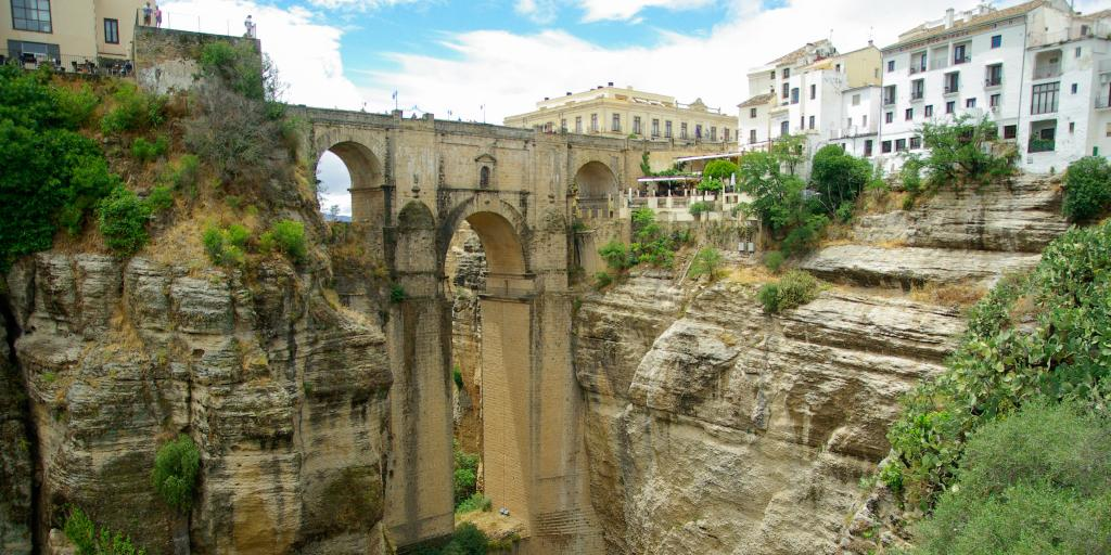 Puente Nuevo, the famous bridge in Ronda, crosses over a deep canyon